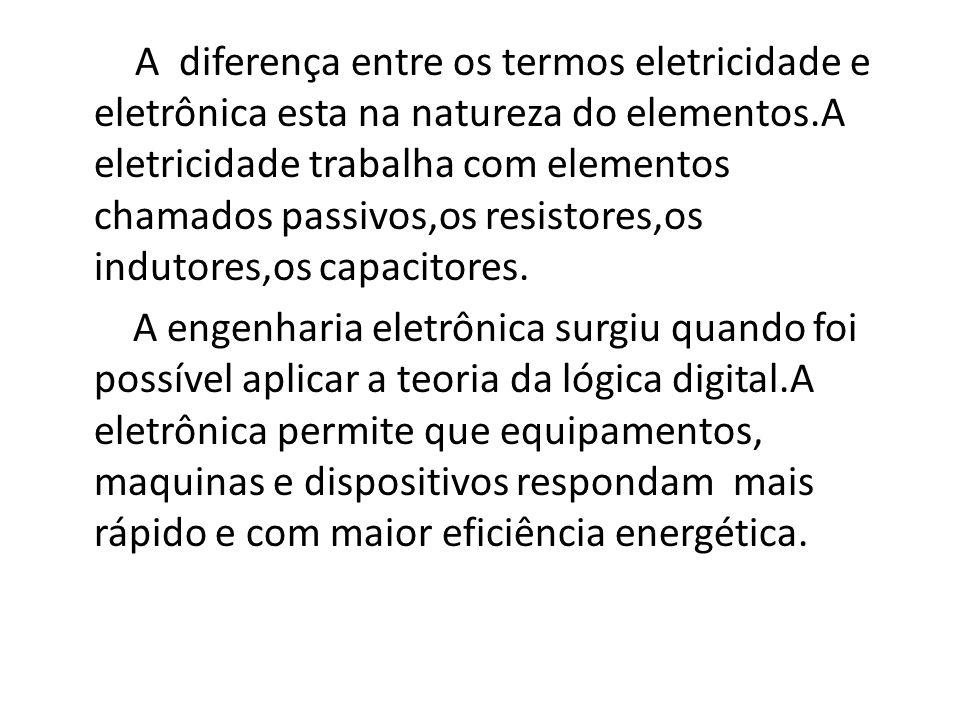 A diferença entre os termos eletricidade e eletrônica esta na natureza do elementos.A eletricidade trabalha com elementos chamados passivos,os resisto