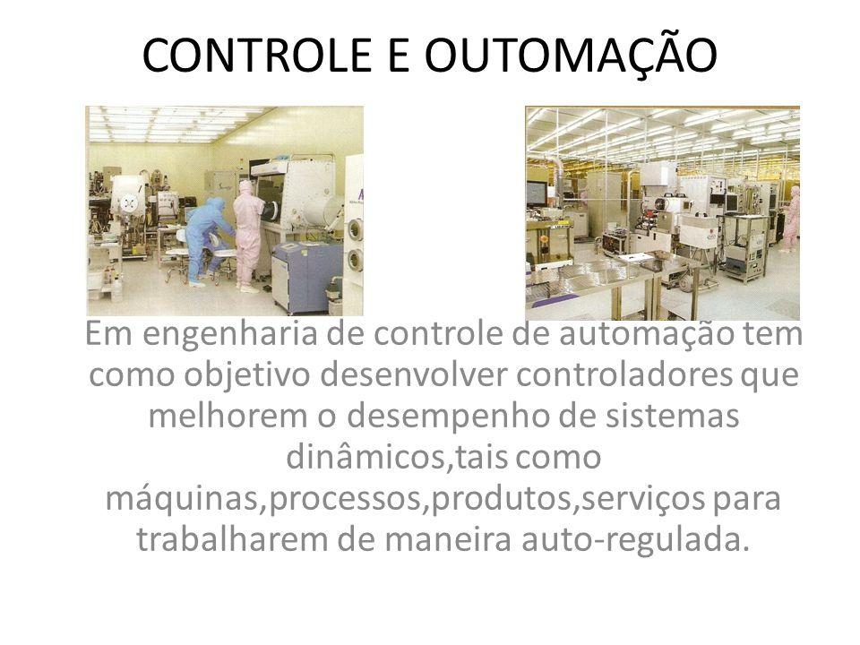 CONTROLE E OUTOMAÇÃO Em engenharia de controle de automação tem como objetivo desenvolver controladores que melhorem o desempenho de sistemas dinâmico