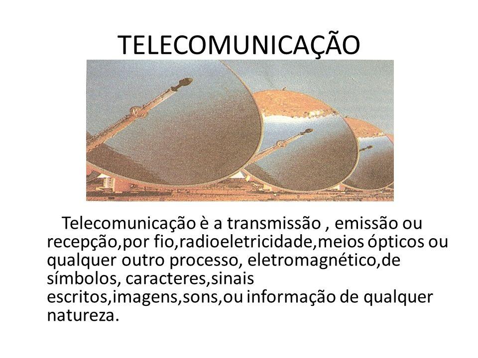 TELECOMUNICAÇÃO Telecomunicação è a transmissão, emissão ou recepção,por fio,radioeletricidade,meios ópticos ou qualquer outro processo, eletromagnéti