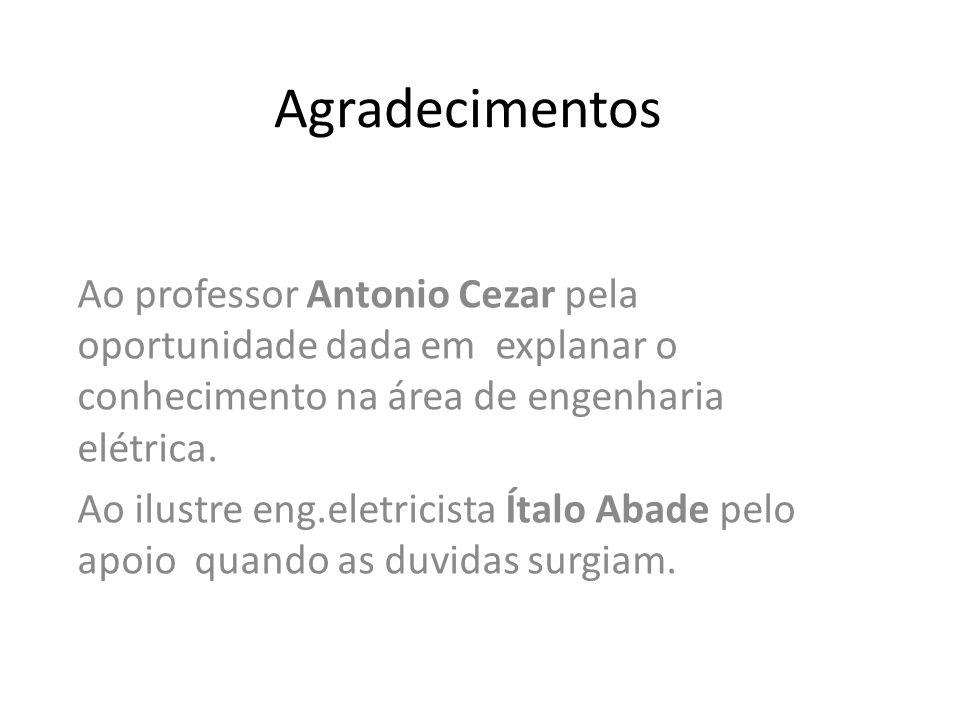 Agradecimentos Ao professor Antonio Cezar pela oportunidade dada em explanar o conhecimento na área de engenharia elétrica. Ao ilustre eng.eletricista