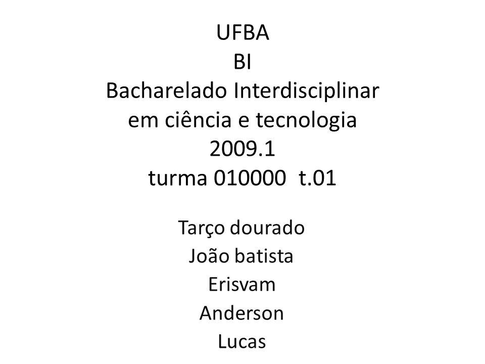 UFBA BI Bacharelado Interdisciplinar em ciência e tecnologia 2009.1 turma 010000 t.01 Tarço dourado João batista Erisvam Anderson Lucas