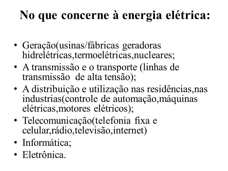 No que concerne à energia elétrica: Geração(usinas/fábricas geradoras hidrelétricas,termoelétricas,nucleares; A transmissão e o transporte (linhas de