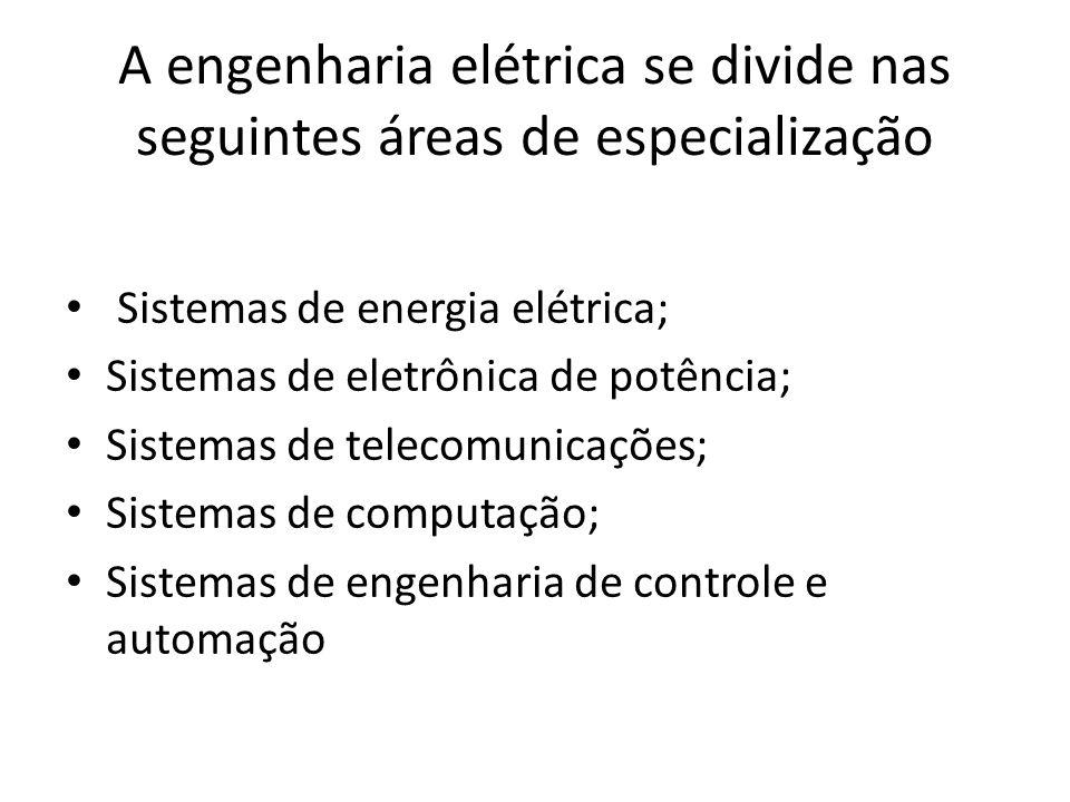 A engenharia elétrica se divide nas seguintes áreas de especialização Sistemas de energia elétrica; Sistemas de eletrônica de potência; Sistemas de te