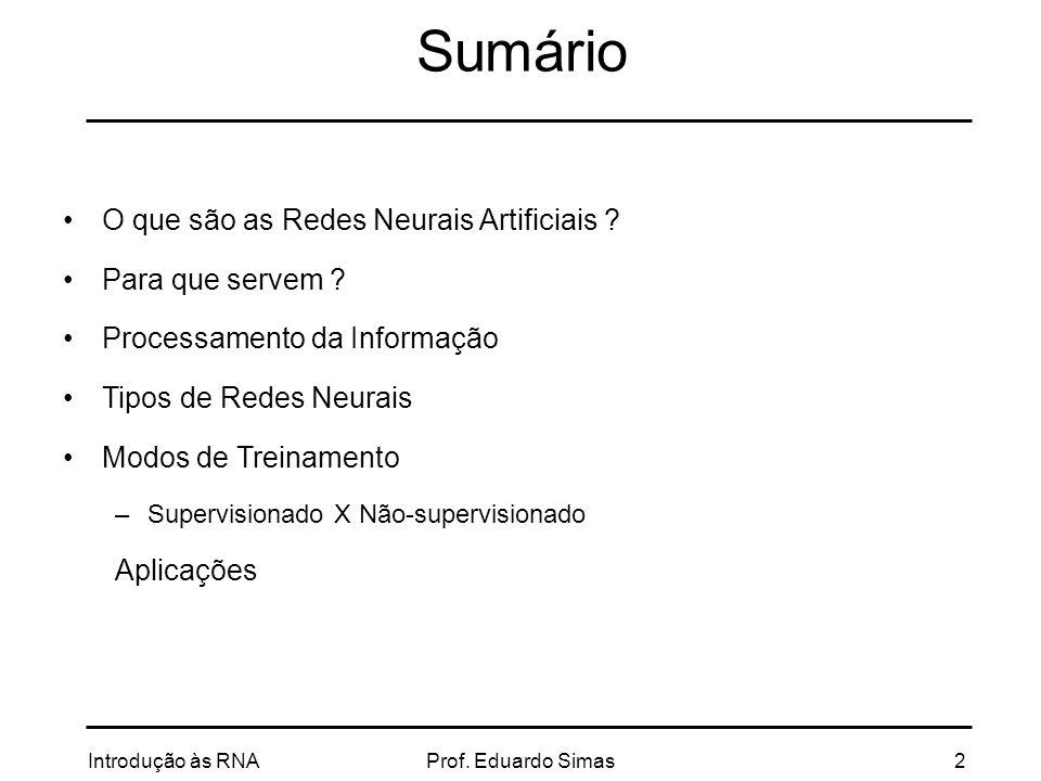 Introdução às RNAProf. Eduardo Simas3 INTRODUÇÃO
