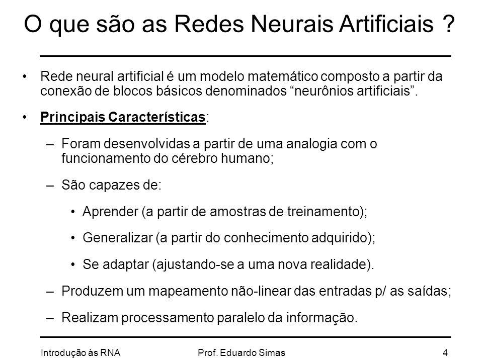 Introdução às RNAProf.Eduardo Simas25 Mapas Auto-Organizáveis Treinamento não supervisionado.