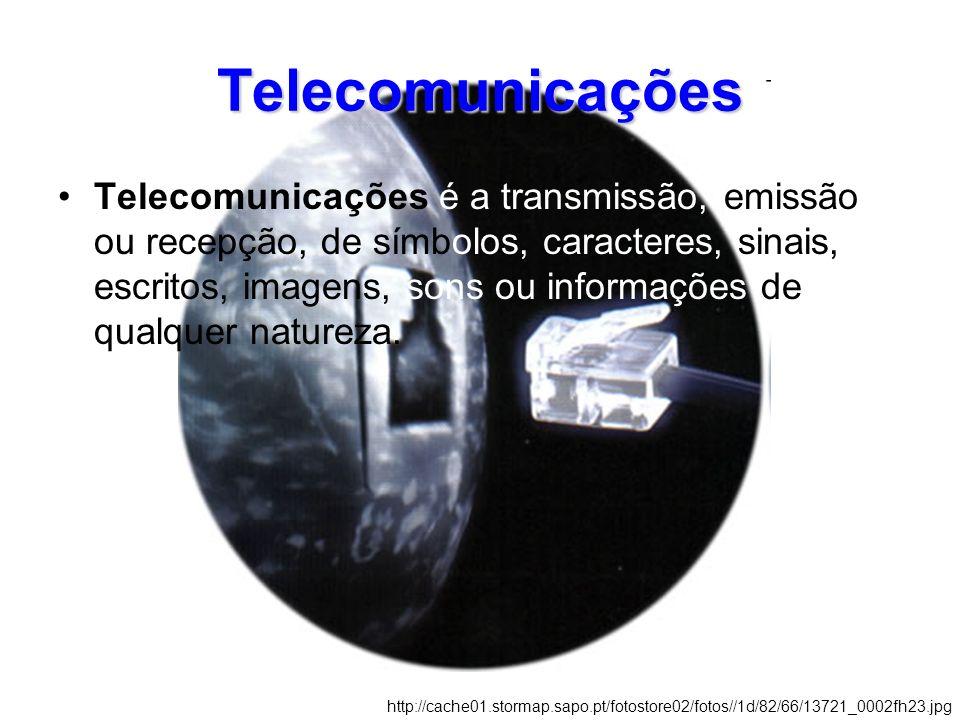 Telecomunicações Telecomunicações é a transmissão, emissão ou recepção, de símbolos, caracteres, sinais, escritos, imagens, sons ou informações de qualquer natureza.