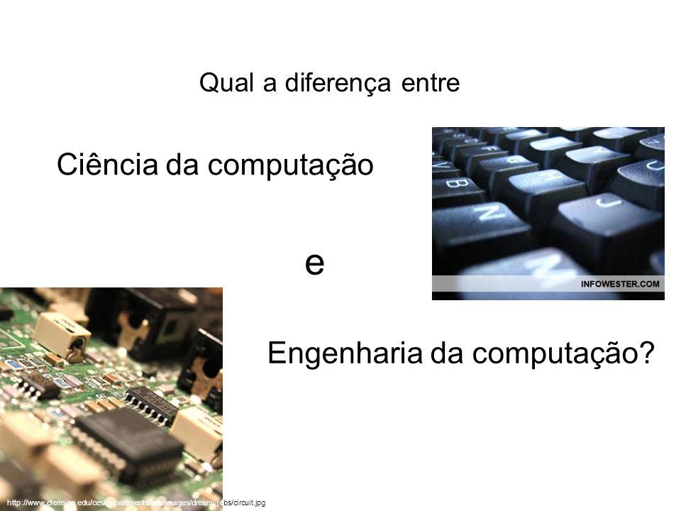Qual a diferença entre Ciência da computação e Engenharia da computação? http://www.clemson.edu/ces/departments/ece/images/dream_jobs/circuit.jpg