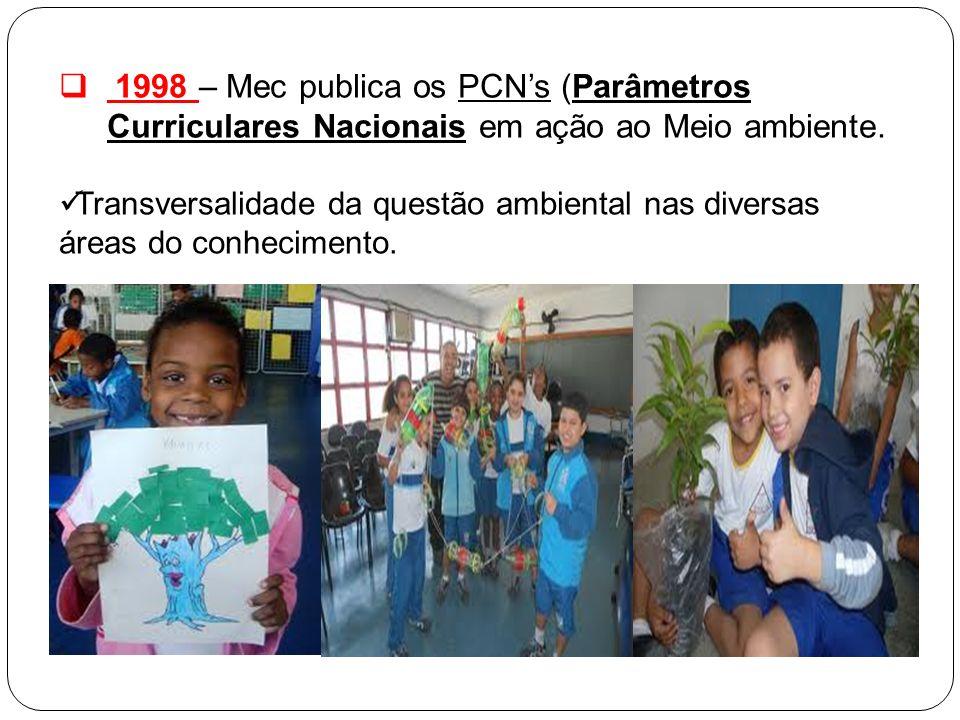 1998 – Mec publica os PCNs (Parâmetros Curriculares Nacionais em ação ao Meio ambiente. Transversalidade da questão ambiental nas diversas áreas do co