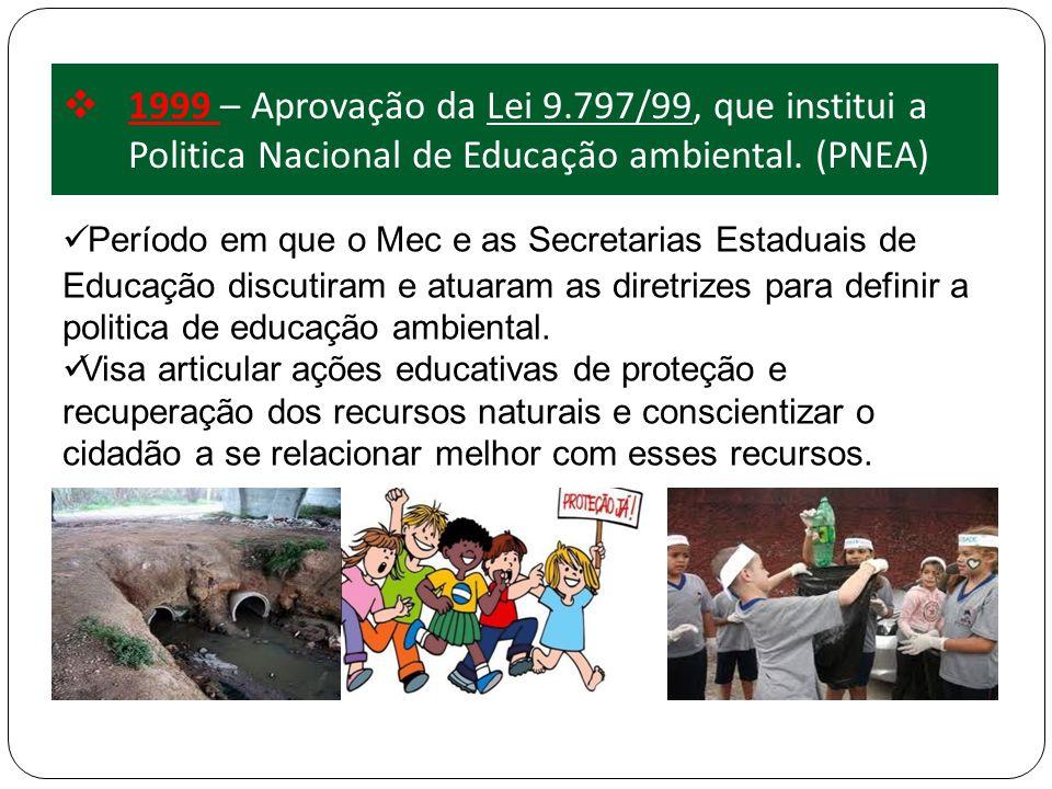 1999 – Aprovação da Lei 9.797/99, que institui a Politica Nacional de Educação ambiental. (PNEA) Período em que o Mec e as Secretarias Estaduais de Ed