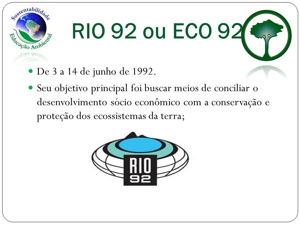 RIO 92 ou ECO 92 De 3 a 14 de junho de 1992. Seu objetivo principal foi buscar meios de conciliar o desenvolvimento sócio econômico com a conservação