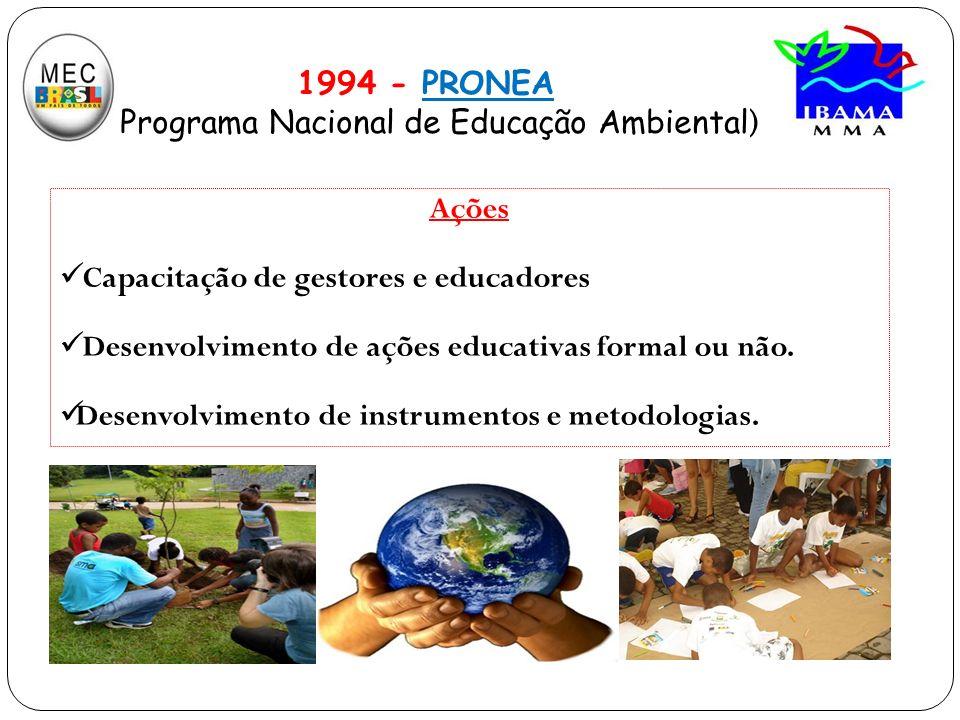 Ações Capacitação de gestores e educadores Desenvolvimento de ações educativas formal ou não. Desenvolvimento de instrumentos e metodologias. 1994 - P
