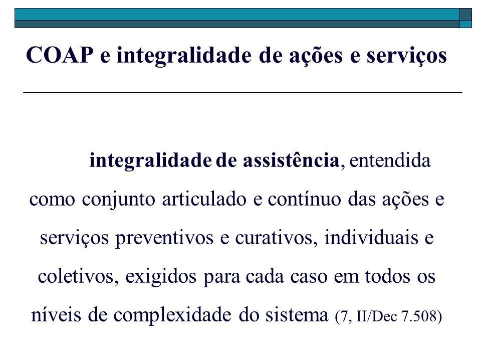 COAP e integralidade de ações e serviços integralidade de assistência, entendida como conjunto articulado e contínuo das ações e serviços preventivos