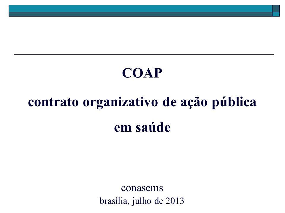 COAP contrato organizativo de ação pública em saúde conasems brasília, julho de 2013