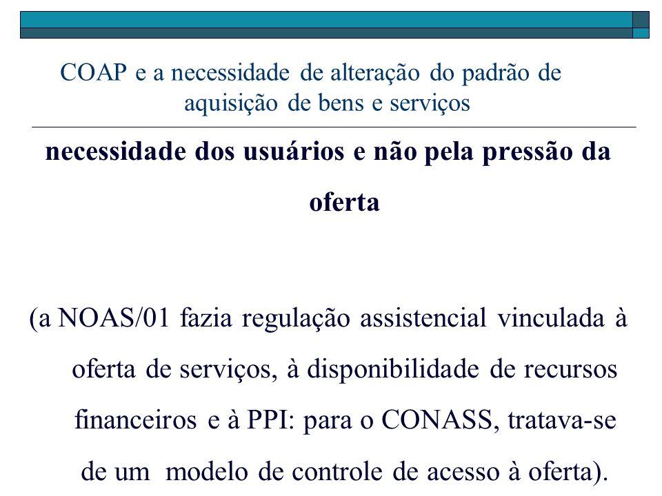 COAP e a necessidade de alteração do padrão de aquisição de bens e serviços necessidade dos usuários e não pela pressão da oferta (a NOAS/01 fazia reg