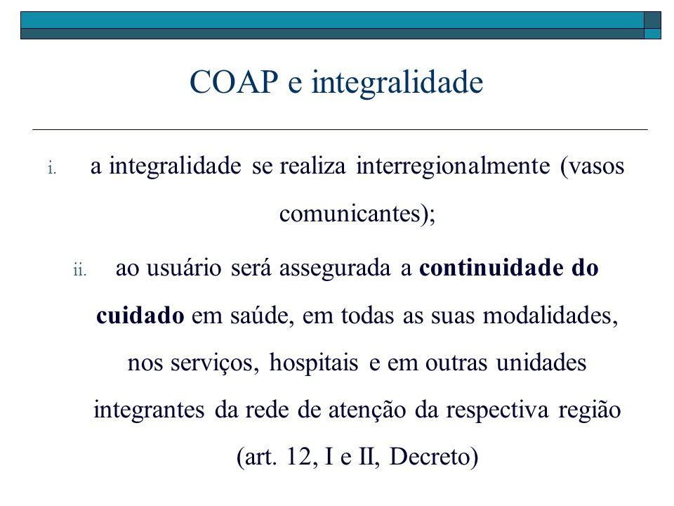 COAP e integralidade i. a integralidade se realiza interregionalmente (vasos comunicantes); ii. ao usuário será assegurada a continuidade do cuidado e