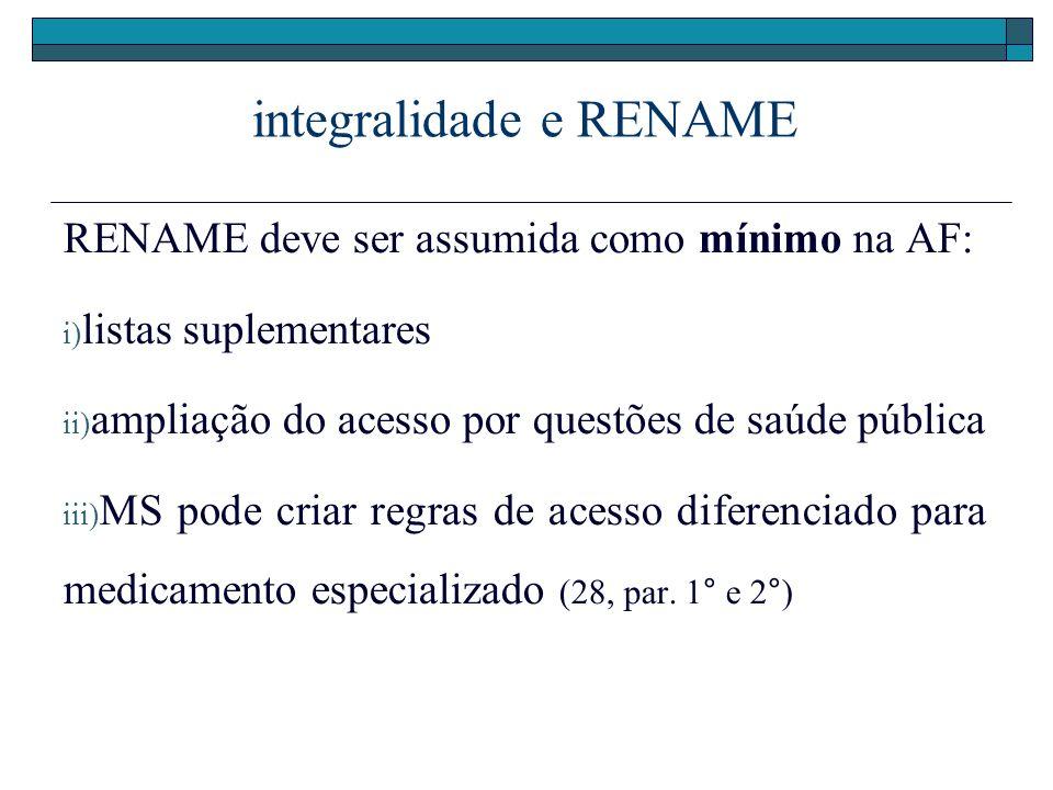 integralidade e RENAME RENAME deve ser assumida como mínimo na AF: i) listas suplementares ii) ampliação do acesso por questões de saúde pública iii)