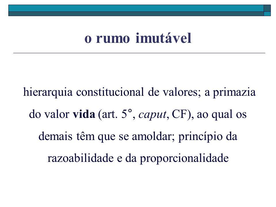 o rumo imutável hierarquia constitucional de valores; a primazia do valor vida (art. 5°, caput, CF), ao qual os demais têm que se amoldar; princípio d