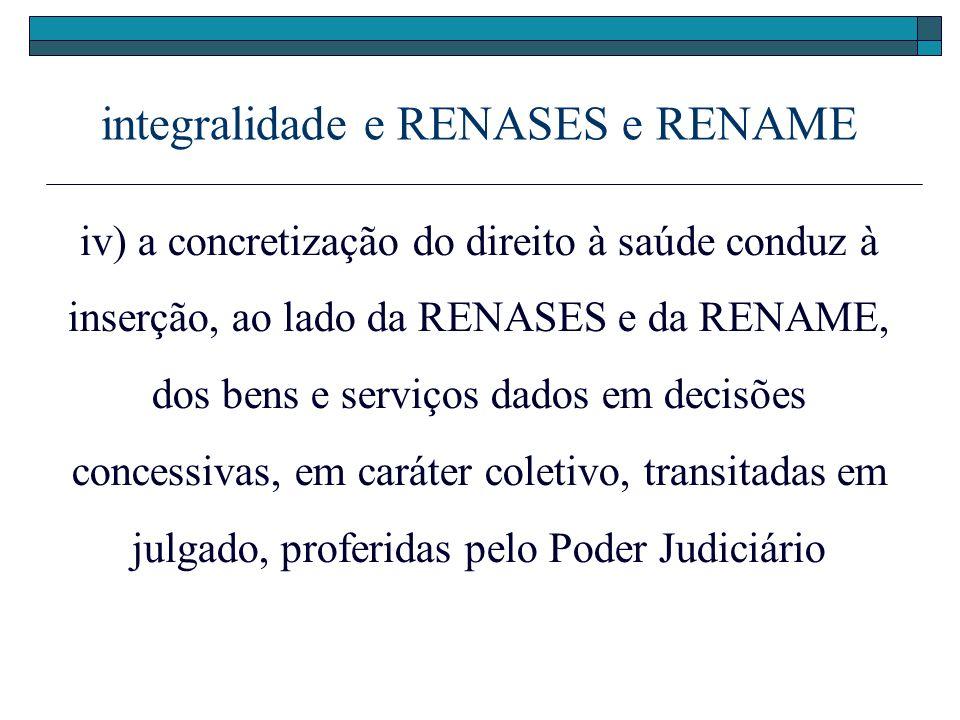 integralidade e RENASES e RENAME iv) a concretização do direito à saúde conduz à inserção, ao lado da RENASES e da RENAME, dos bens e serviços dados e