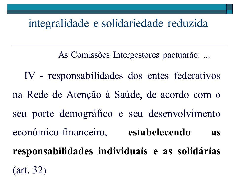 integralidade e solidariedade reduzida As Comissões Intergestores pactuarão:... IV - responsabilidades dos entes federativos na Rede de Atenção à Saúd