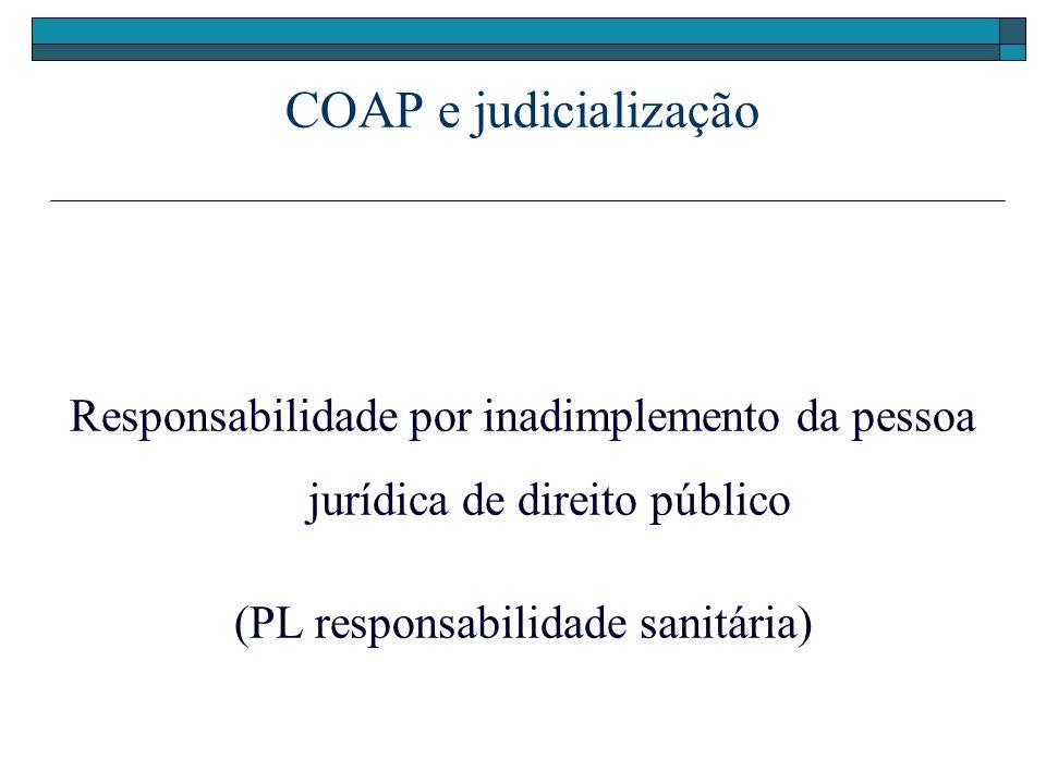 COAP e judicialização Responsabilidade por inadimplemento da pessoa jurídica de direito público (PL responsabilidade sanitária)