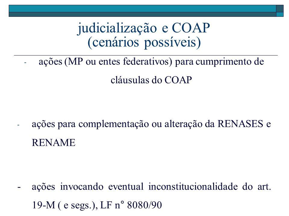 judicialização e COAP (cenários possíveis) - ações (MP ou entes federativos) para cumprimento de cláusulas do COAP - ações para complementação ou alte