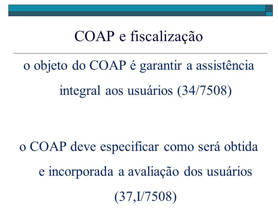 COAP e fiscalização o objeto do COAP é garantir a assistência integral aos usuários (34/7508) o COAP deve especificar como será obtida e incorporada a