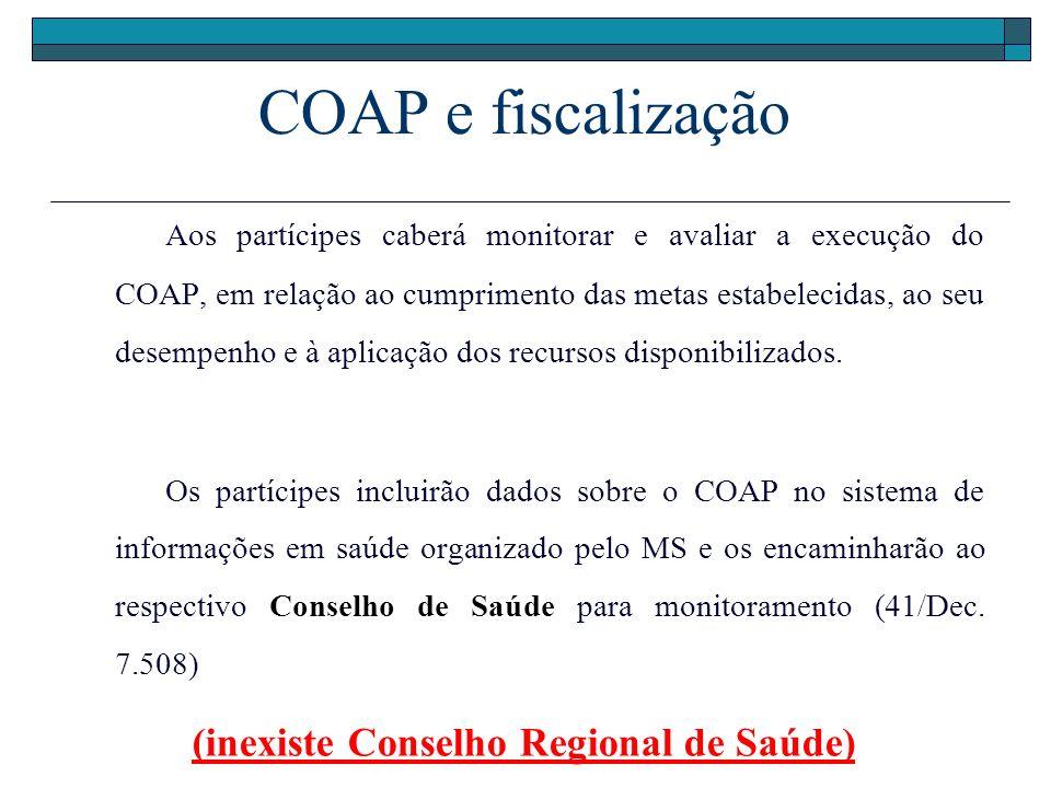 COAP e fiscalização Aos partícipes caberá monitorar e avaliar a execução do COAP, em relação ao cumprimento das metas estabelecidas, ao seu desempenho