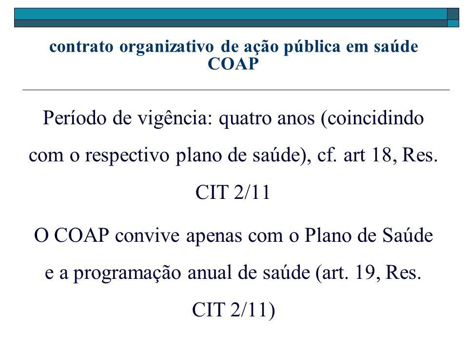 contrato organizativo de ação pública em saúde COAP Período de vigência: quatro anos (coincidindo com o respectivo plano de saúde), cf. art 18, Res. C