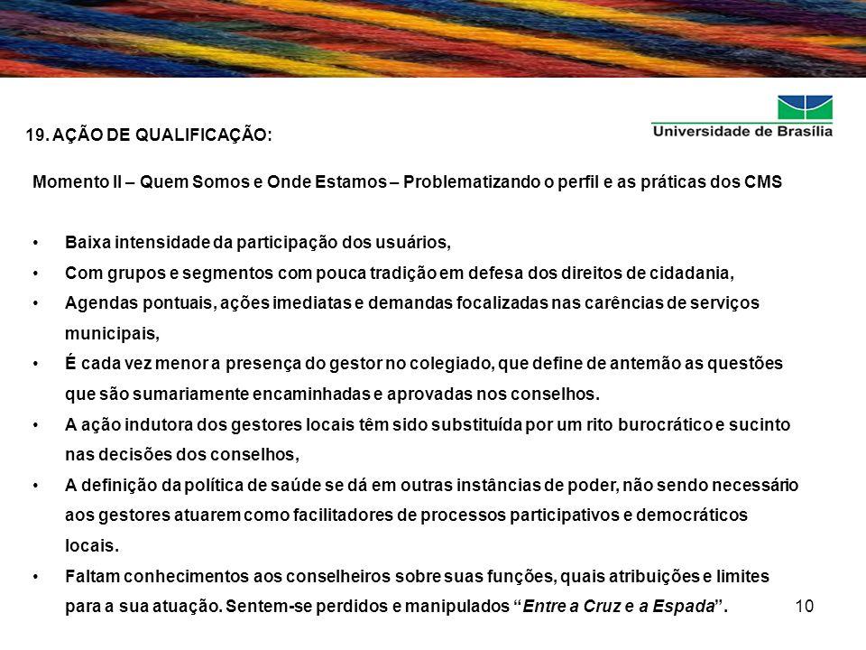 10 19. AÇÃO DE QUALIFICAÇÃO: Momento II – Quem Somos e Onde Estamos – Problematizando o perfil e as práticas dos CMS Baixa intensidade da participação