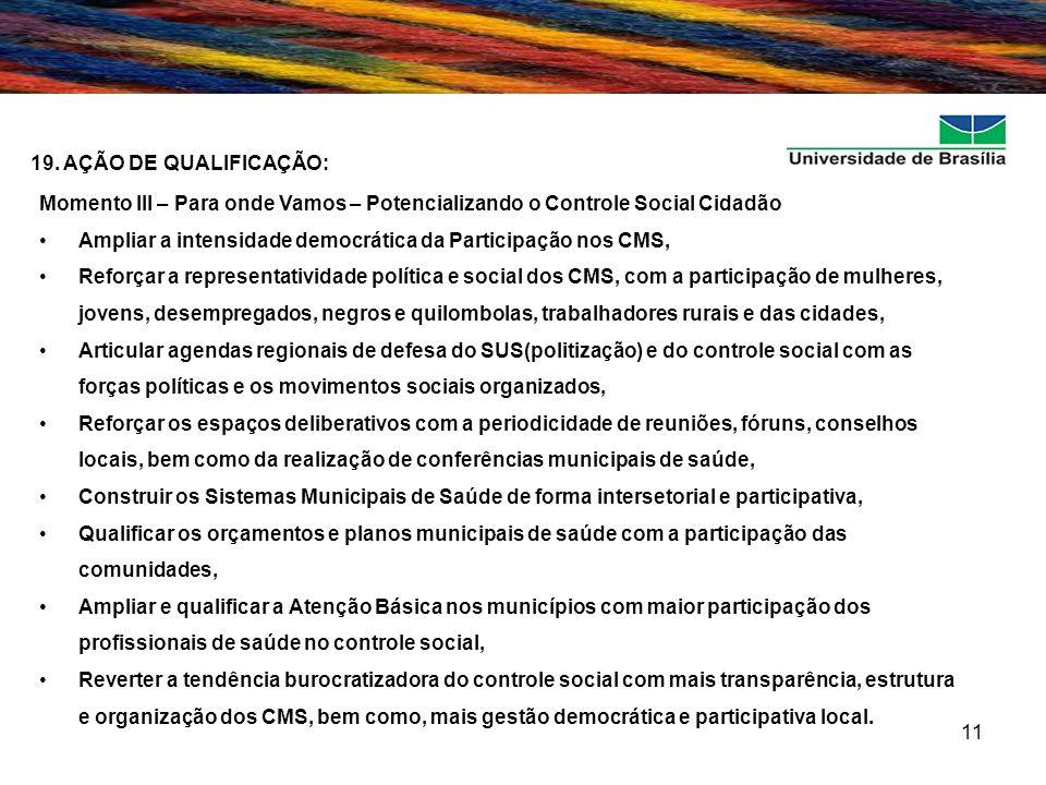 11 19. AÇÃO DE QUALIFICAÇÃO: Momento III – Para onde Vamos – Potencializando o Controle Social Cidadão Ampliar a intensidade democrática da Participaç