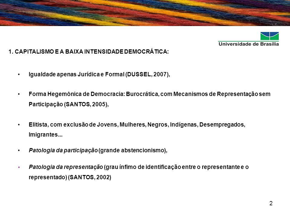 2 1. CAPITALISMO E A BAIXA INTENSIDADE DEMOCRÁTICA: Igualdade apenas Jurídica e Formal (DUSSEL, 2007), Forma Hegemônica de Democracia: Burocrática, co