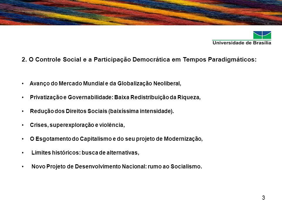 3 2. O Controle Social e a Participação Democrática em Tempos Paradigmáticos: Avanço do Mercado Mundial e da Globalização Neoliberal, Privatização e G