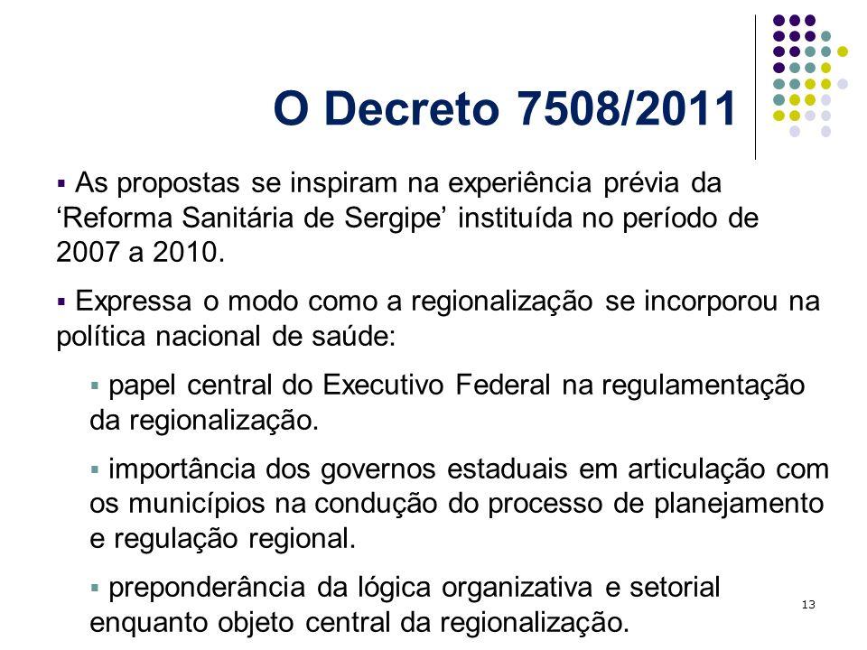 O Decreto 7508/2011 As propostas se inspiram na experiência prévia da Reforma Sanitária de Sergipe instituída no período de 2007 a 2010. Expressa o mo