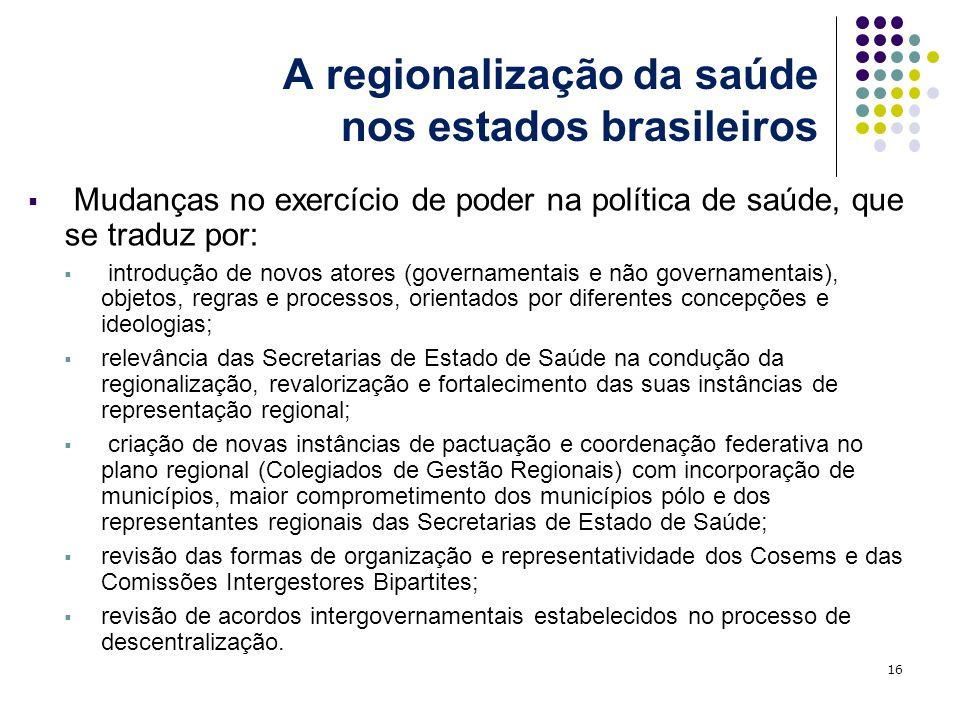 A regionalização da saúde nos estados brasileiros Mudanças no exercício de poder na política de saúde, que se traduz por: introdução de novos atores (