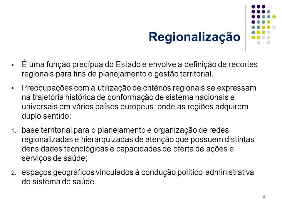 Regionalização É uma função precípua do Estado e envolve a definição de recortes regionais para fins de planejamento e gestão territorial. Preocupaçõe