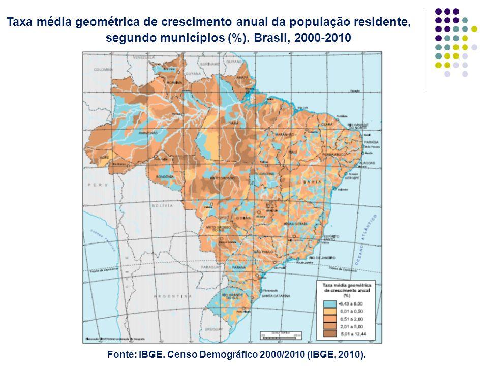 Taxa média geométrica de crescimento anual da população residente, segundo municípios (%). Brasil, 2000-2010 Fonte: IBGE. Censo Demográfico 2000/2010