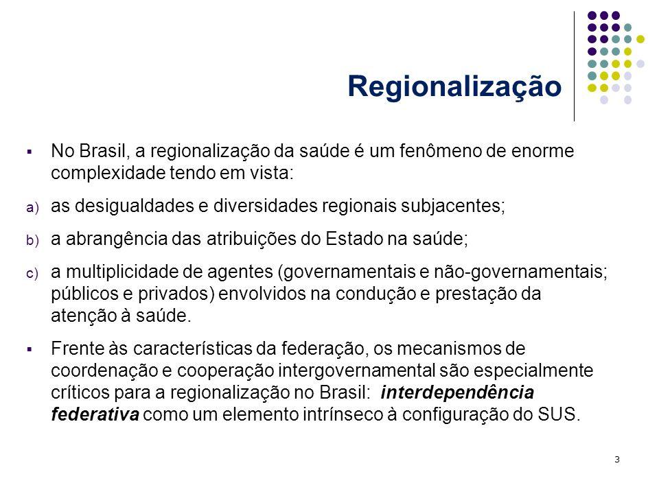 Diversidade e desigualdade territorial e suas implicações para a saúde 24 Outros fatores que incidem sobre a configuração territorial do sistema de saúde: a forma como foi moldada a descentralização (diferentes acordos e repartição de funções entre os governos); as diferenças regionais da inserção privada na prestação de serviços; as desigualdades na distribuição e concentração regional de serviços (existência de vazios assistenciais); as diferenças na capacidade de oferta e prestação da atenção dos municípios e estados brasileiros que se expressam nas regiões de saúde.