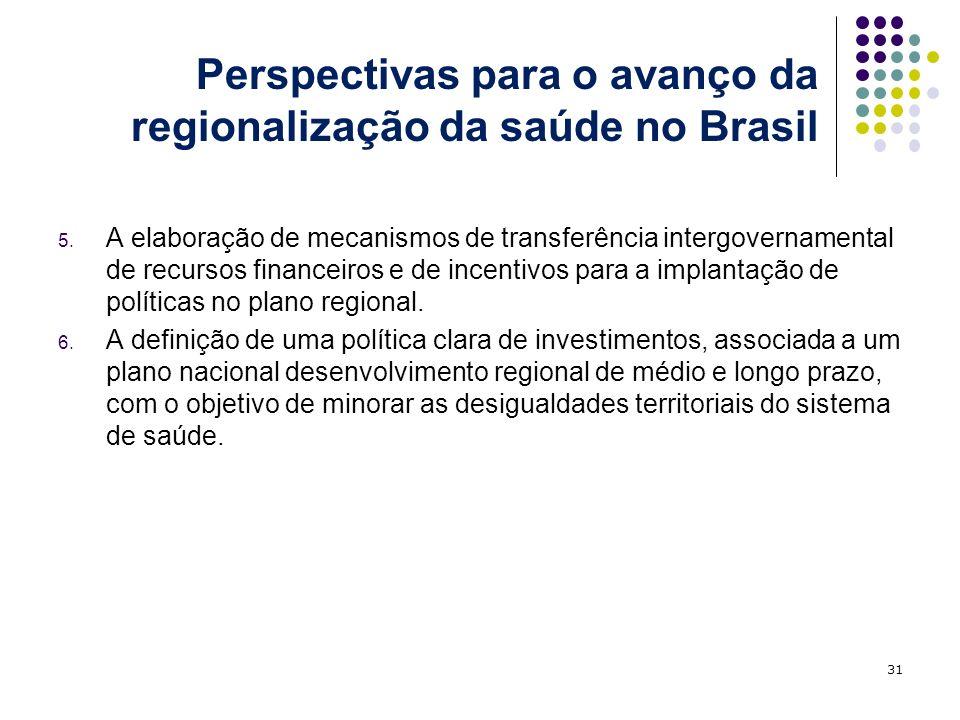 5. A elaboração de mecanismos de transferência intergovernamental de recursos financeiros e de incentivos para a implantação de políticas no plano reg