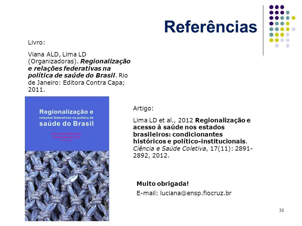 Referências 32 Livro: Viana ALD, Lima LD (Organizadoras). Regionalização e relações federativas na política de saúde do Brasil. Rio de Janeiro: Editor