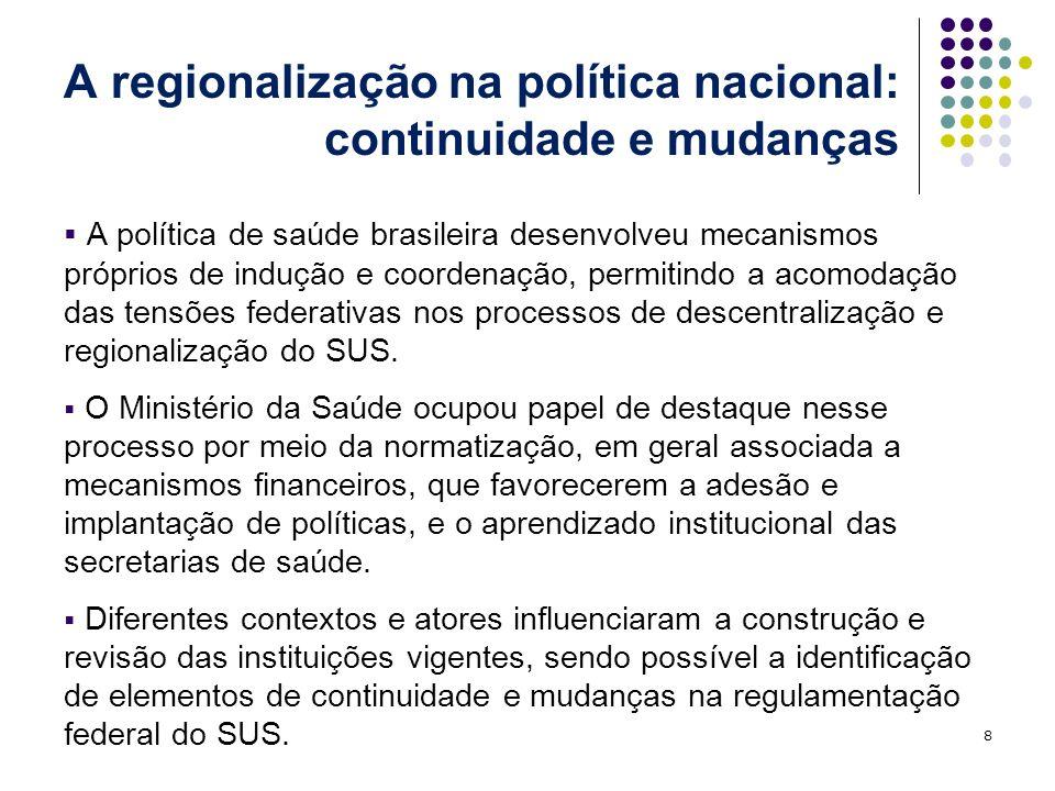 A regionalização na política nacional: continuidade e mudanças A política de saúde brasileira desenvolveu mecanismos próprios de indução e coordenação