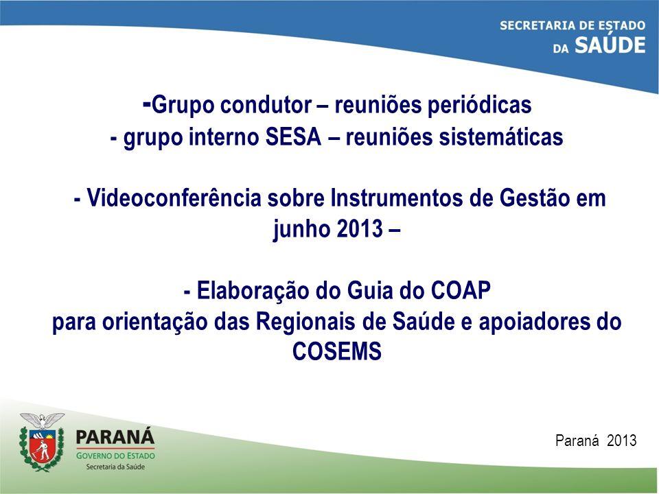 - Grupo condutor – reuniões periódicas - grupo interno SESA – reuniões sistemáticas - Videoconferência sobre Instrumentos de Gestão em junho 2013 – -