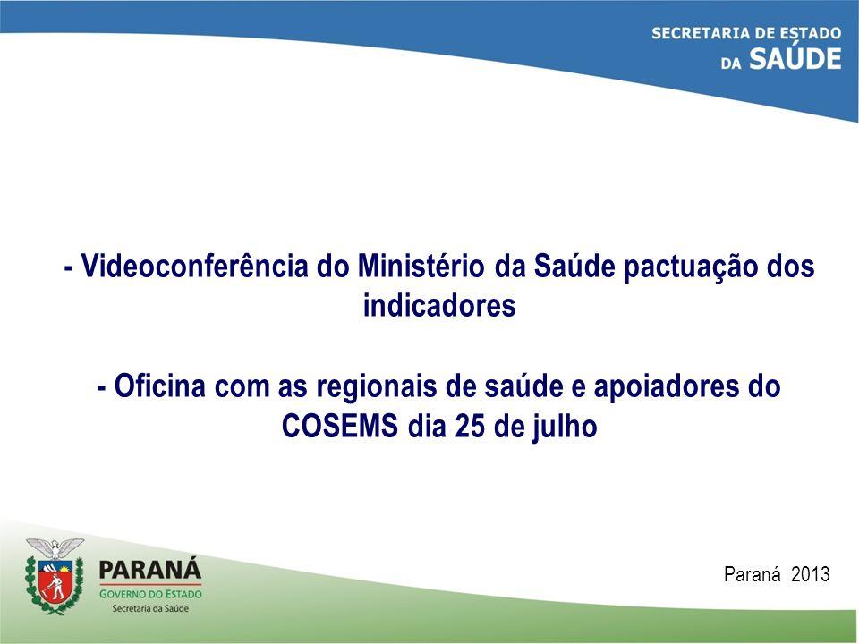 - Videoconferência do Ministério da Saúde pactuação dos indicadores - Oficina com as regionais de saúde e apoiadores do COSEMS dia 25 de julho Paraná