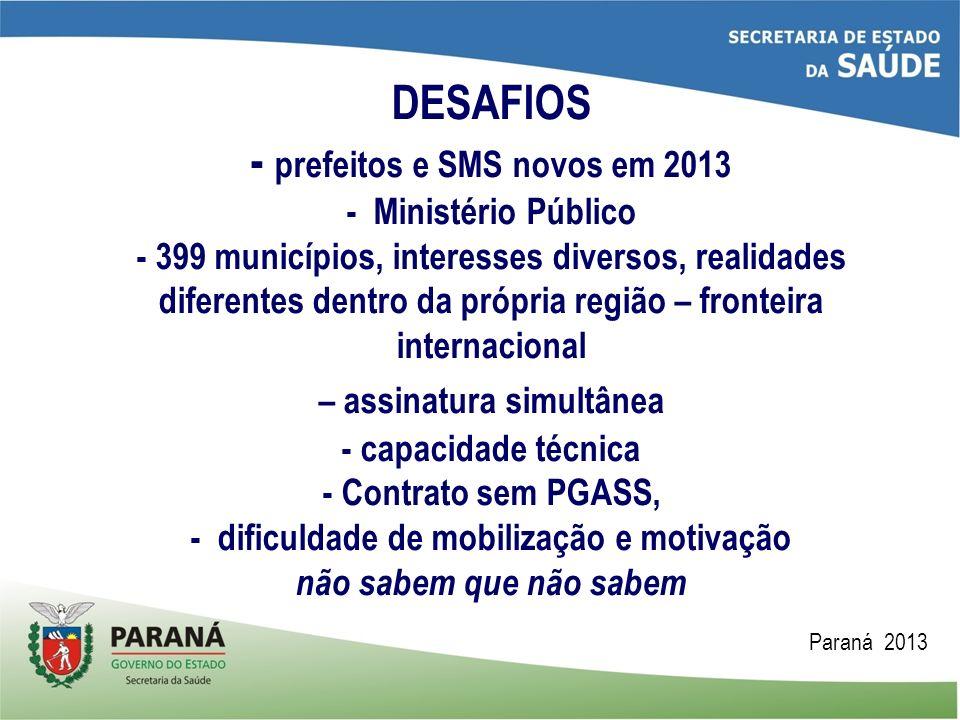 DESAFIOS - prefeitos e SMS novos em 2013 - Ministério Público - 399 municípios, interesses diversos, realidades diferentes dentro da própria região –