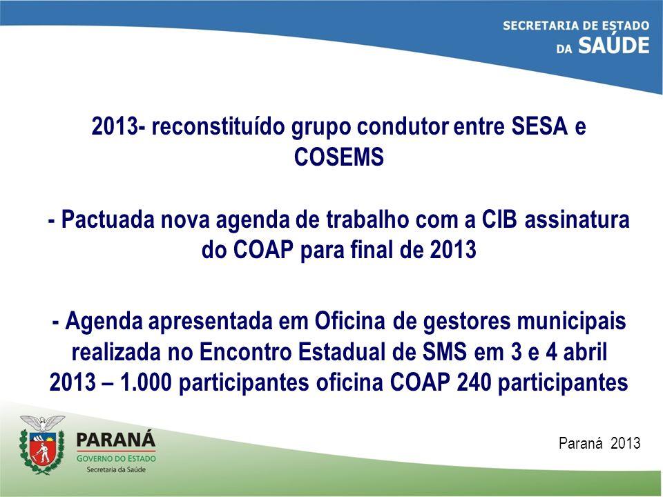 2013- reconstituído grupo condutor entre SESA e COSEMS - Pactuada nova agenda de trabalho com a CIB assinatura do COAP para final de 2013 - Agenda apr