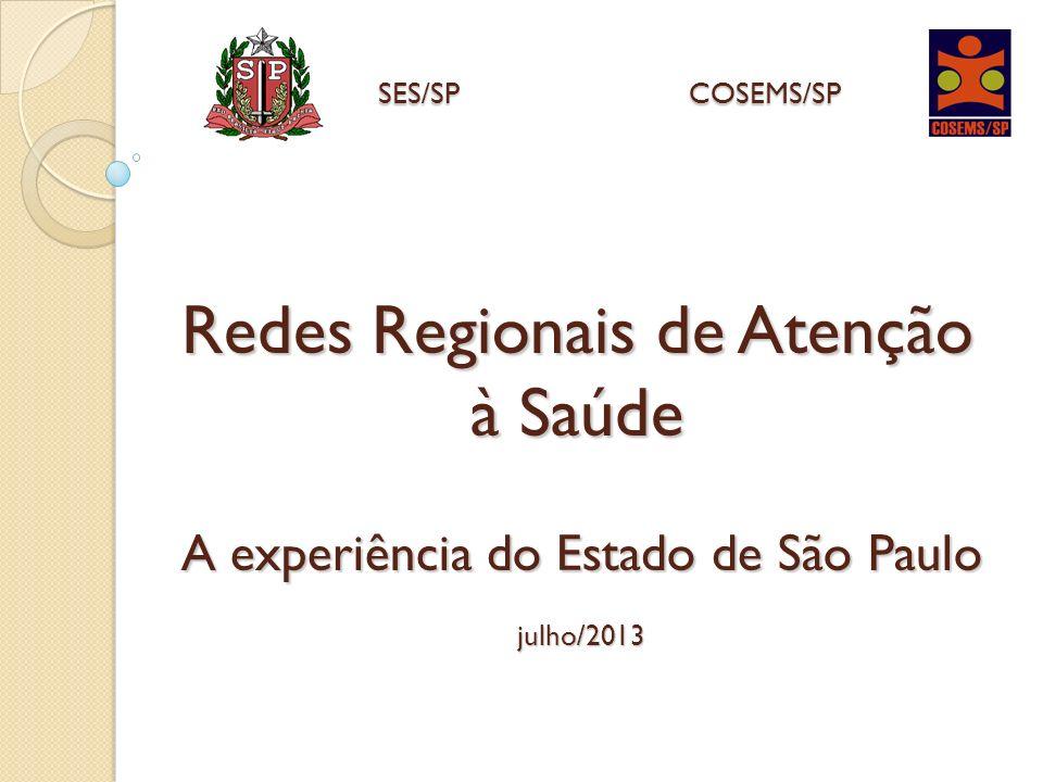 Redes Regionais de Atenção à Saúde A experiência do Estado de São Paulo julho/2013 SES/SPCOSEMS/SP SES/SP COSEMS/SP
