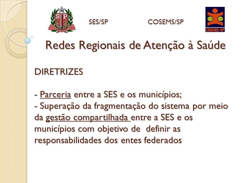 DIRETRIZES - Parceria entre a SES e os municípios; - Superação da fragmentação do sistema por meio da gestão compartilhada entre a SES e os municípios