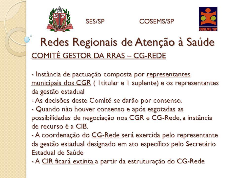 COMITÊ GESTOR DA RRAS – CG-REDE - Instância de pactuação composta por representantes municipais dos CGR ( 1titular e 1 suplente) e os representantes d