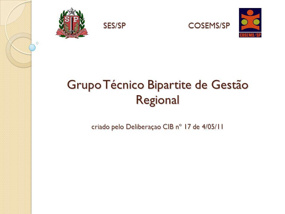 Grupo Técnico Bipartite de Gestão Regional criado pelo Deliberaçao CIB nº 17 de 4/05/11 SES/SPCOSEMS/SP SES/SP COSEMS/SP