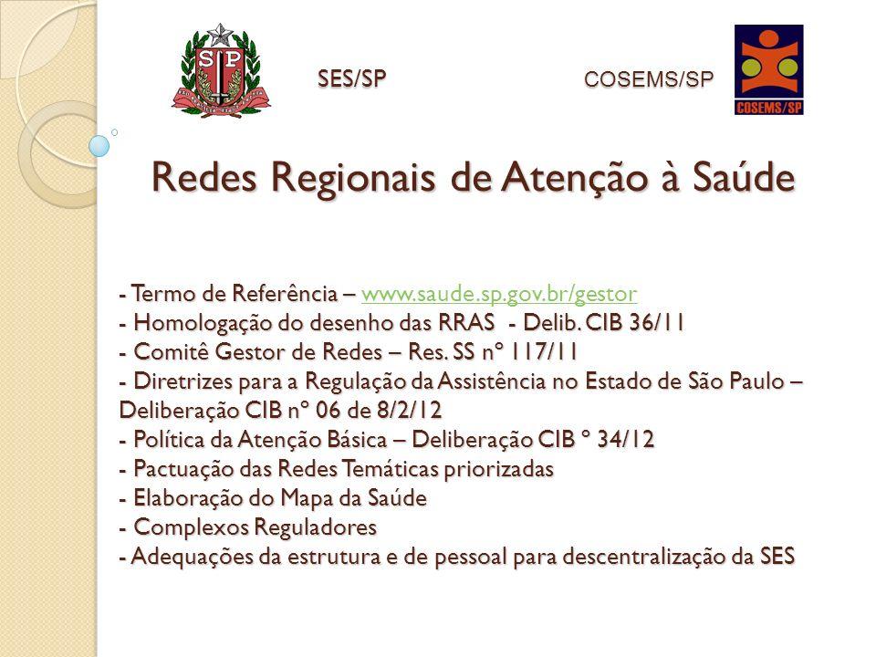 - Termo de Referência – - Homologação do desenho das RRAS - Delib. CIB 36/11 - Comitê Gestor de Redes – Res. SS nº 117/11 - Diretrizes para a Regulaçã