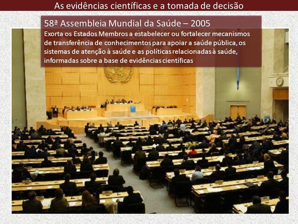 58ª Assembleia Mundial da Saúde – 2005 Exorta os Estados Membros a estabelecer ou fortalecer mecanismos de transferência de conhecimentos para apoiar
